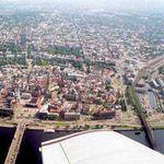 панорама Риги с крыла самолёта