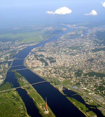 вид на Даугаву и центр города